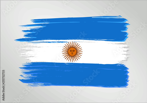 Fotografie, Tablou  vector template Illustration Argentina flag South American  country blue white brush paint watercolor hand drawn stroke and texture