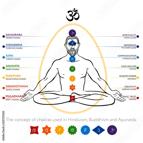 Chakras System Of Human Body Used In Buddhism And Ayurveda For