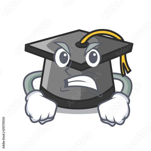 Angry graduation hat mascot cartoon Wallpaper Mural