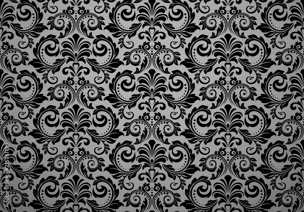 Fototapeta Wallpaper in the style of Baroque. Seamless vector background. Black floral ornament. Graphic pattern for fabric, wallpaper, packaging. Ornate Damask flower ornament