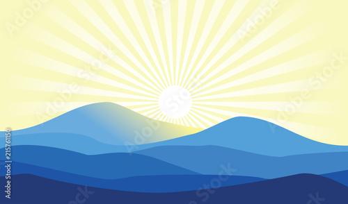 Morning Sunrise Sunburst Blue Mountain Hill Landscape