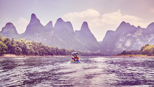 Color Toned Picture Of The Li River (Li Jiang), China.