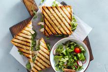Chicken Arugula Sandwiches Wooden Cutting Board Top View