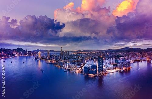 In de dag Aziatische Plekken Hong Kong Cityscape from aerial view