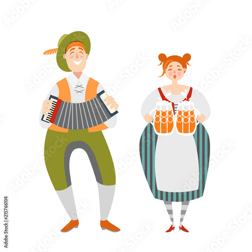 Oktoberfest couple of funny cartoon characters in Bavarian