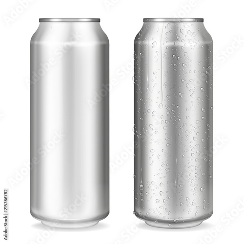 Photo Metal can vector illustration of 3D realistic container for soda or energy drink, lemonade or beer