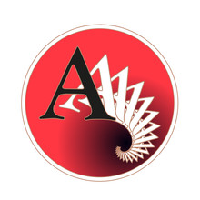 Letter A Circular Label With Fractal Spiral Tail Pattern In Red