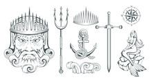 Poseidon - Ancient Greek Supreme Sea God. Greek Mythology. Neptune Trident. Olympian Gods Collection. Hand Drawn Man Head. Bearded Man. Vector Graphics To Design