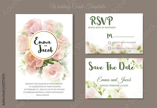 Fototapeta Vintage Style Wedding Invitation Pink Roses Watercolor Hand Drawn Save The Date Card Design Vector Template Set Invite Card