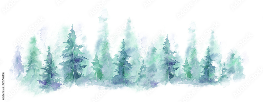Fototapeta Blue landscape of foggy forest, winter hill. Wild nature, frozen, misty, taiga. watercolor background