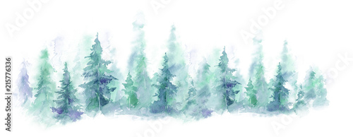 Poster Blanc Blue landscape of foggy forest, winter hill. Wild nature, frozen, misty, taiga. watercolor background