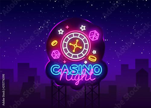 фотография  Casino Night Neon Logo Vector