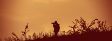 Photographer Takes Pictures In The Wild. Web Banner.