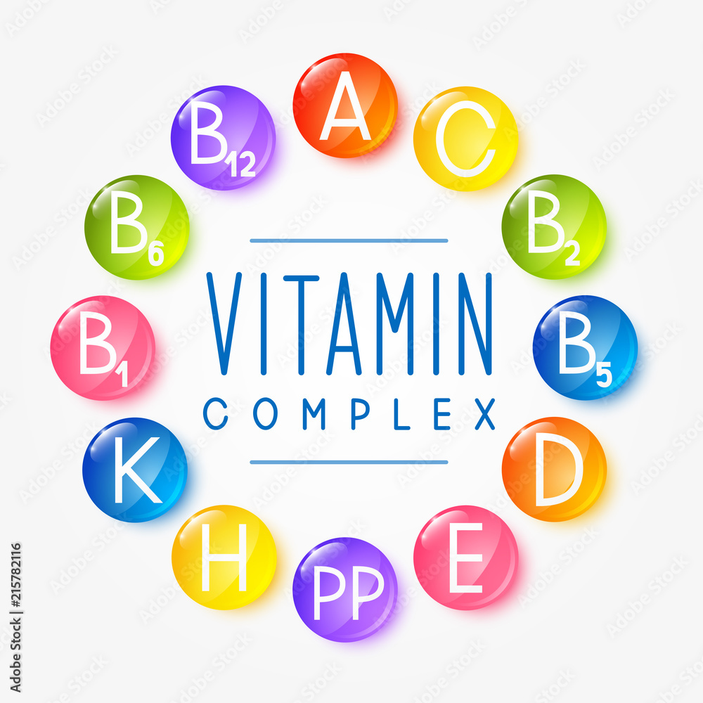 Fototapety, obrazy: Set of main vitamin icons for Your design