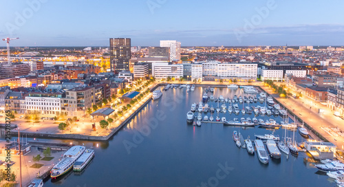 Foto op Plexiglas Antwerpen Aerial city view from rooftop at night, Antwerpen, Belgium