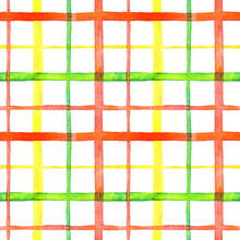 Bright Checkered Watercolor Seamless Pattern Design In Red, Green And Yellow Colors Palette