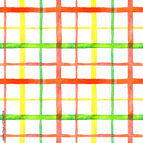 Fotografía  Bright checkered watercolor seamless pattern design in red, green and yellow col