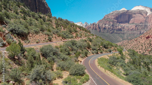In de dag Centraal-Amerika Landen Panoramic aerial view of Zion National park, USA