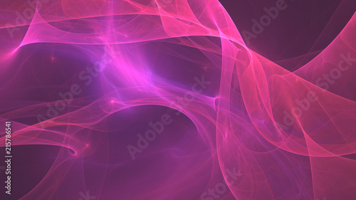 Deurstickers Fractal waves Abstract fractal pink glow background. Computer generated graphic