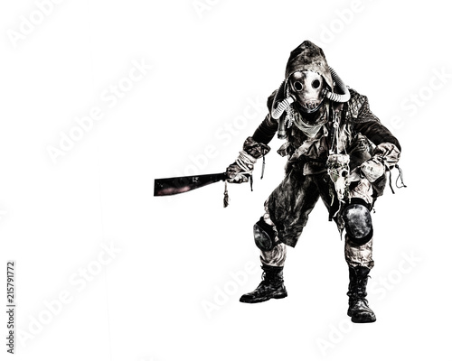 Aggressive and evil humanoid monster or creature of post apocalyptic, poisoned b Wallpaper Mural