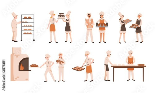 Photo Collection of smiling men and women baking bread and making confections isolated on white background