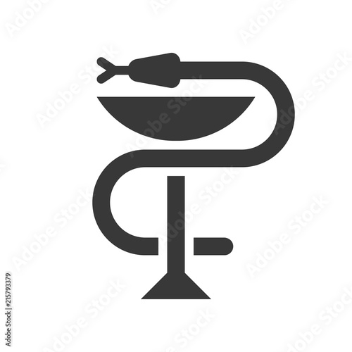 Photo  A snake twined around a chalice, Bowl of Hygieia one of the symbols of pharmacy