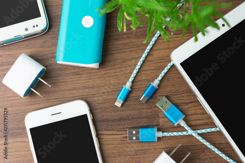 Fototapeta USB charging cables for smartphone and tablet obraz