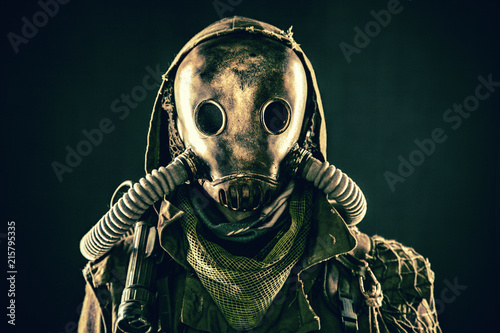 Fototapeta Close up portrait of nuclear post-apocalypse survivor, living underground mutant