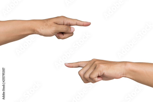 Valokuva  man hands pointing on white background