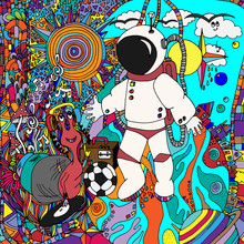 Astronaut And Aliens, Space, D...