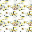 pattern flowers and bird yellow. Seamless white pattern with toucans. Watercolor hand drawing, wild flower for background, texture, wrapper pattern, frame or border.