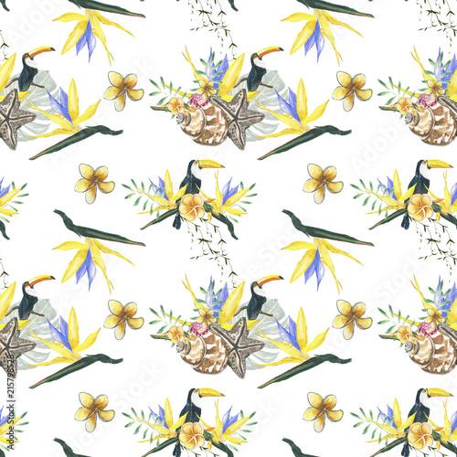 kwiaty-drobny-wzor-i-zolty-ptak