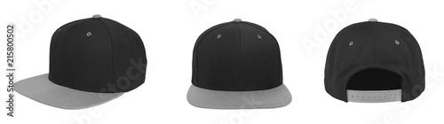 Fotografia  Blank baseball snapback cap two tone color black/gray on white background
