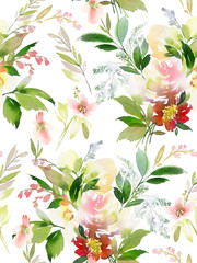 Naklejka Florystyczny Seamless summer pattern with watercolor flowers handmade.