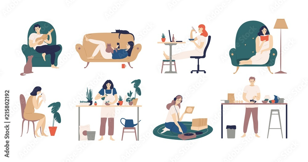 Fototapety, obrazy: Bundle of young men and women spending weekend at home - playing guitar, eating sushi, reading books, surfing internet, listening to music, cooking. Colored vector illustration in flat cartoon style.