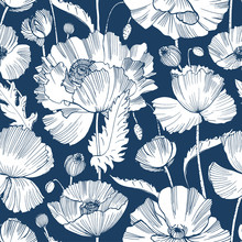Monochrome Seamless Pattern With Gorgeous Blooming Wild Poppy Flowers, Leaves And Seed Heads Hand Drawn With Contour Lines On Blue Background. Botanical Vector Illustration For Wallpaper, Backdrop.