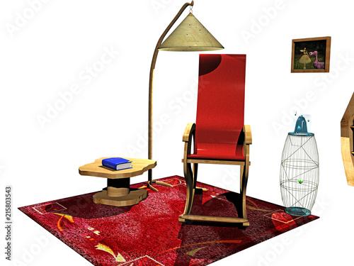 Photo  Cartoon Leseecke mit Stuhl, Regal und Lampe
