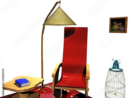 Cartoon Leseecke mit Stuhl, Regal und Lampe Wallpaper Mural