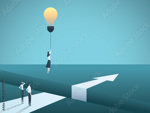 Business creativity vector concept with woman flying with lightbulb. Symbol of creative solution, breakthrough, innovation, challenge.