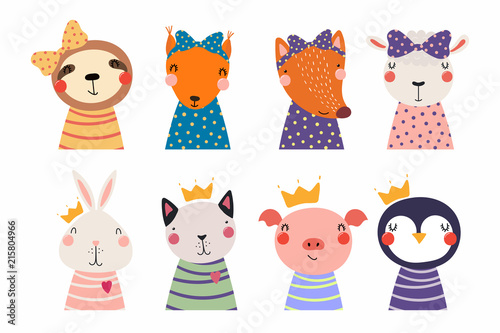 Photo Stands Illustrations Set of cute funny little animals cat, sheep, penguin, bunny, sloth, fox, pig, squirrel. Isolated objects on white. Vector illustration. Scandinavian style flat design. Concept for children print