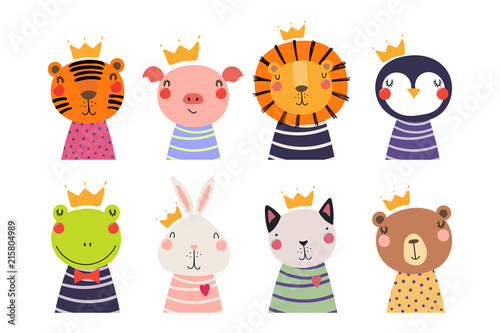 Deurstickers Illustraties Set of cute funny little animals in crowns cat, bear, lion, tiger, penguin, bunny, frog, pig. Isolated objects on white. Vector illustration. Scandinavian style flat design. Concept for children print
