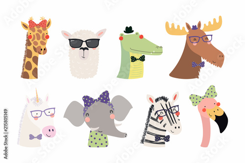 Recess Fitting Illustrations Set of cute funny trendy animals unicorn, zebra, llama, flamingo, giraffe, moose, crocodile, elephant. Isolated objects on white. Vector illustration. Scandinavian style design Concept kids print