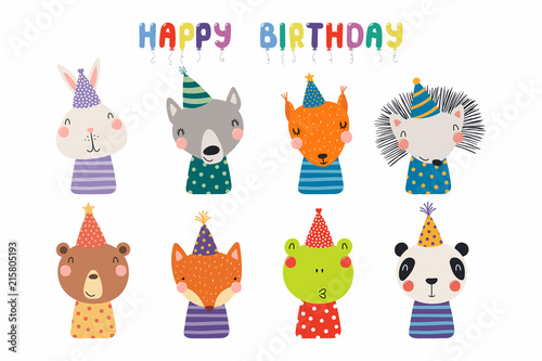 Poster Des Illustrations Set of cute funny animals in party hats bear, panda, bunny, wolf, frog, fox, hedgehog, squirrel. Isolated objects on white. Vector illustration. Scandinavian style design. Concept kids birthday print