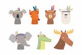 Fototapeta Fototapety na ścianę do pokoju dziecięcego - Set of cute funny little tribal animals bear, koala, llama, moose, fox, crocodile, elephant. Isolated objects on white. Vector illustration. Scandinavian style flat design. Concept for children print