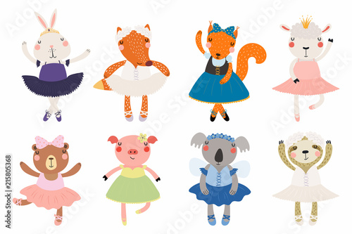 Photo Stands Illustrations Set of cute funny little animals ballerinas bear, sheep, bunny, fox, pig, squirrel, sloth, koala. Isolated objects on white. Vector illustration. Scandinavian style flat design. Concept children print