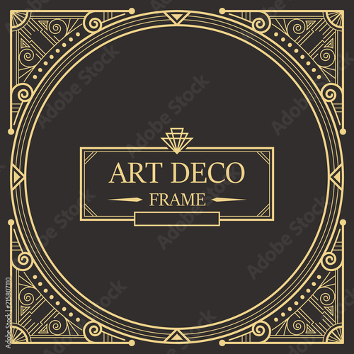 Photo  Art deco border and frame template.