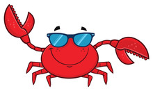 Smiling Crab Cartoon Mascot Character With Sunglasses Waving. Vector Illustration Isolated On White Background