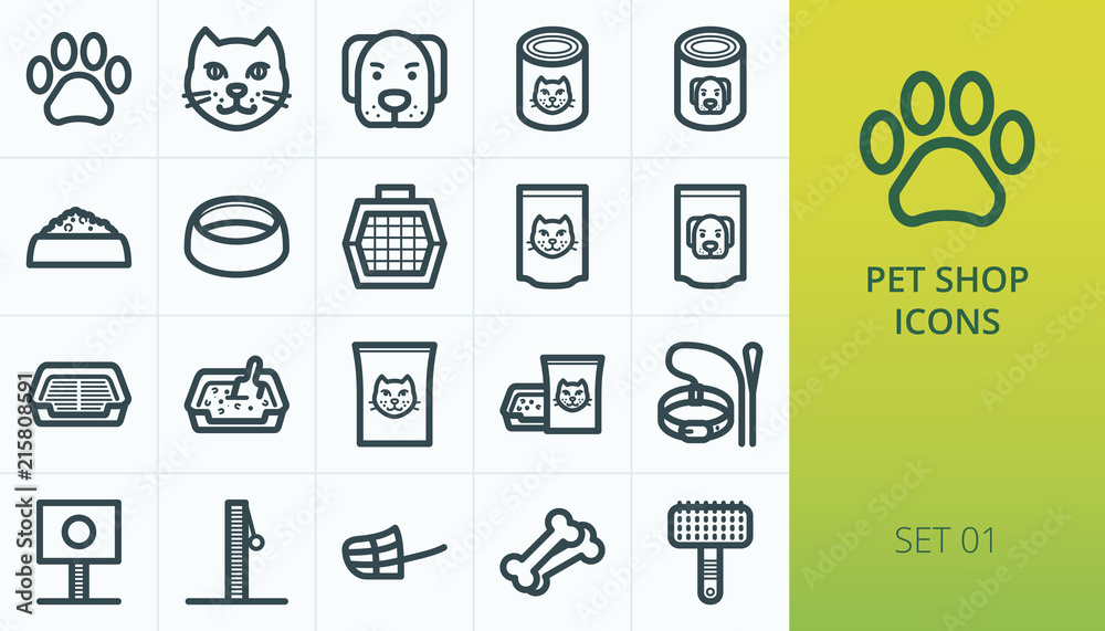 Fototapeta Pet shop icons set. Set of cat and dog, pet carrier, aluminium packing food for cat and dog, litter box toilet, care vector icons