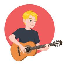 Musician Playing Guitar. Blond...