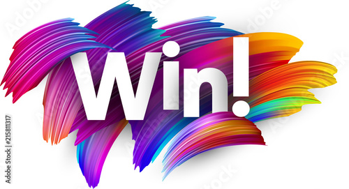 Pinturas sobre lienzo  Win paper poster with colorful brush strokes.